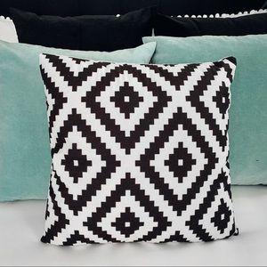 "2 pack: Aztec print pillow cover black white 18"""